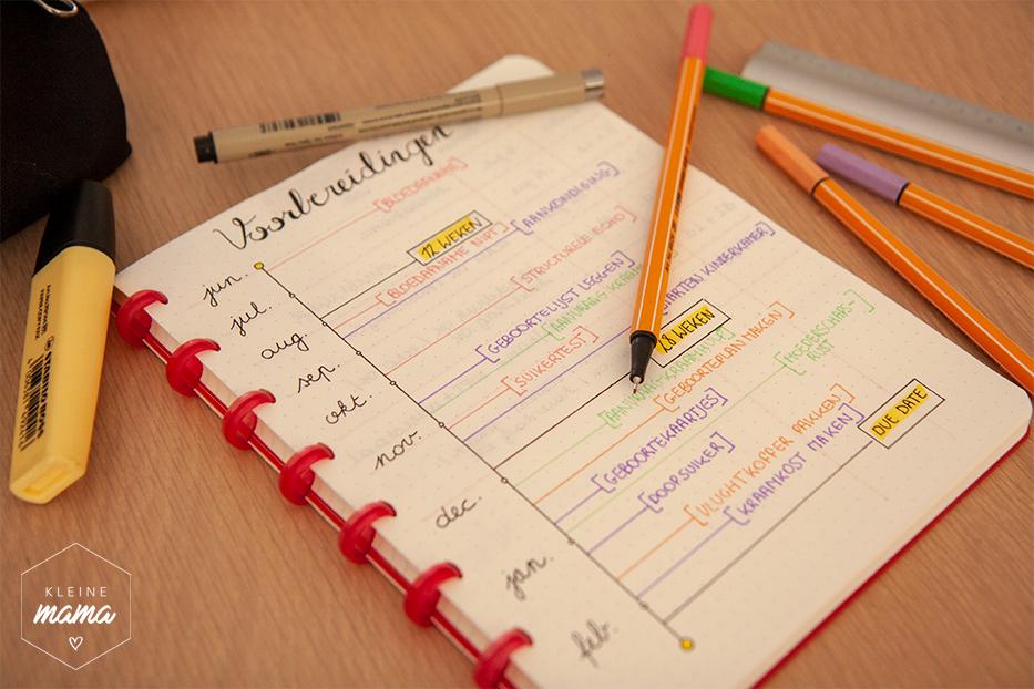 Een foto van een notitieboek waarin een overzicht staat van alle belangrijke taken uit te voeren tijdens zwangerschap